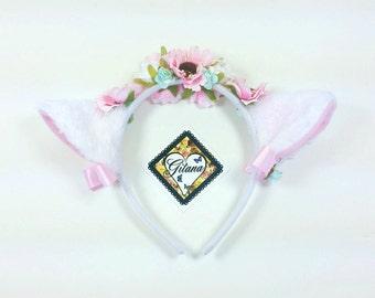 White Cat Headband- Lolita Headband- Neko- Cosplay -Lolita- Cat Ears- Mori kei- fairy kei -harajuku- Hime- Kitty Ears- Flower Headband