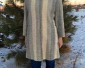 vintage stripped wool coat with fur collar - 80s