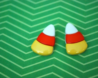 Candy Corn Earrings -- Candy Corn Studs, Halloween Earrings, Halloween Candy