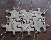 Six Puzzle Pendants with two Initials and hearts
