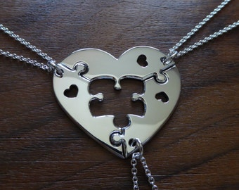 Three Piece Heart Puzzle with Hearts, best friend puzzle heart pendant necklaces 2