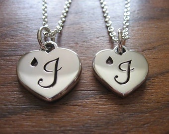 Two Handmade Chunky Silver Personalised Heart Pendant Necklace