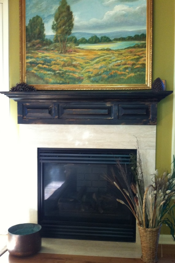 Rustic Black Distressed Fireplace Mantel By Rayscustomwoodwork