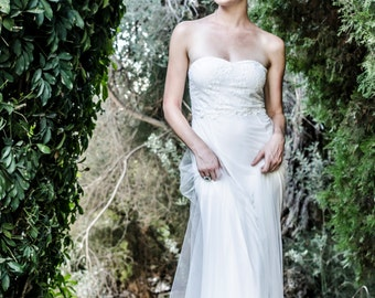 Boho Wedding Dress Bohemian Wedding Dress Beach Wedding Dress Strapless Tulle Wedding Dress Paulastudio Wedding Dress