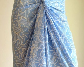 Blue Sarong, Pareo, Wrap, Cover up E