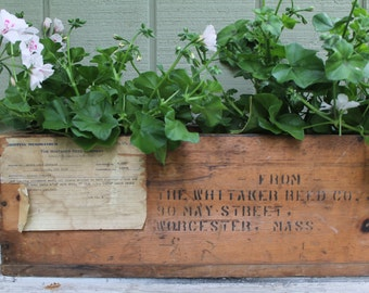 Old Wood Crate // Rustic Planter Box // Industrial Plumbing Bin