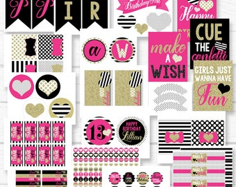 Personalized Girls Night Diy Spade Kate Chic Birthday Party Digital Printable Party Package