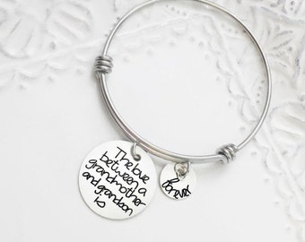 The Love Between A Grandmother And Grandson Is Forever - Gift For Her - Grandma Expandable Bracelet - Personalized Engraved Jewelry