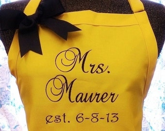 Personalized Apron Gourmet Chef Bride Bridesmaid Mother