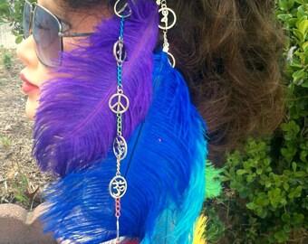Chakra Inspired Feather Clip In Hair Extension Yoga Hair Accessories Hair Charm Hair Clip Clip in Rainbow Extensions Feather Hair Clip