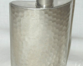 Vintage German Hammered Pewter Curved Hip Flask 10 oz Made in Germany U.S. Zone AHS Tin Lined