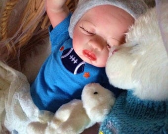 From The Preemie Anna Kit Reborn Baby Boy Jordan Completed Doll with Heartbeat