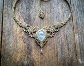 Macrame necklace bohemian wedding tiara Moonstone bridal boho jewelry by Creations Mariposa M1