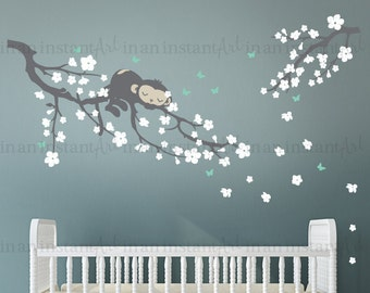 Monkey Wall Decal, Cherry Blossom Branch Wall Decal with Sleeping Monkey for Nursery, Kids, Childrens Room 054