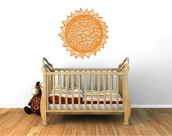 Geometric Sun wall decal, geometry sunburst decal