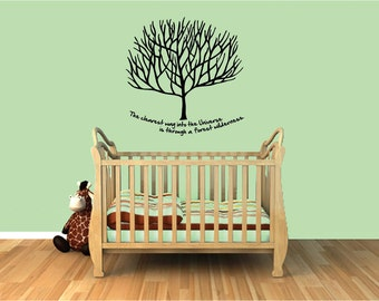 "Tree wall decal- tree wall art with quote ""The clearest way into the Universe is through a forest Wilderness"""