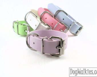 "Biothane Dog Collar / Pastel Purple Lavender / 1"" - 25mm Wide / Leather Look and Feel / Stainless Steel or Brass Hardware"