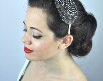 Polka-dot Feather Bridal Headband Fascinator