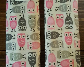 Reversible TODDLER Car Seat Strap Covers Ann Kelle Mini Urban Zoologie Pink Gray Owl on White w/Pink Dimple Minky Baby Girl Gift ITEM #051