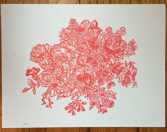 Floral Bouquet Letterpress Print, 9 x 12