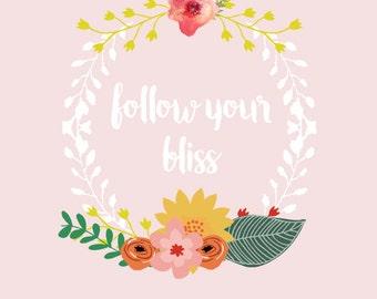 Floral Garland,Nursery Printable Art,Floral Wall Art,Printable Quote,Printable Nursery Art Print, Pink Decor, Printable Quote, Nursery Quote