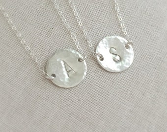 Sterling Silver Initial Disc Necklace, Initial Necklace, Sterling Silver Necklace, Birthday Gift, Best Friends Gift