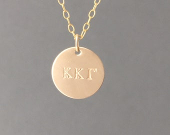 Greek Sorority Gold Fill DISC Lavalier Engraved Necklace also in Rose Gold and Silver