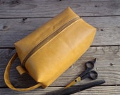 Sandstone Faux Leather Large DOPP Kit Toliety Bag,  Zipper Box Bag