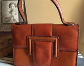 Vintage Small Leather Purse Made In Italy Expressly For Dayton Top Handle Leather Purse