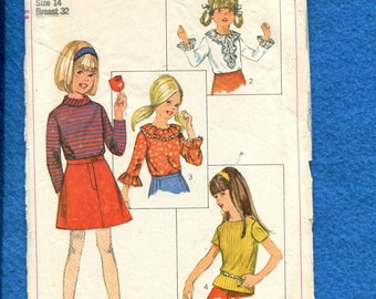 Vintage 1960's Simplicity 7229 Retro Girl's Tops & Collar Variations Size 14