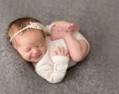 NEUTRAL COLLECTION ~ Celine (Newborn Headband, Photo Prop, Baby Headband, Newborn Tieback, Organic Photography Props, Photo Props, Organic)