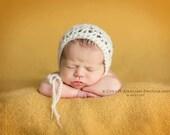 Newborn Photo Prop - Newborn Bonnet, Newborn Hat, Mohair, Ivory, Baby Girl Hat, Baby Girl Bonnet, Newborn Christmas Photography Props