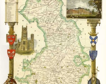 Cambridgeshire 1840. Antique map of the County of Cambridgeshire, England by Thomas Moule - MAP PRINT