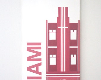 """Miami - 12"""" x 24"""" Handpainted on Canvas in Pink"""