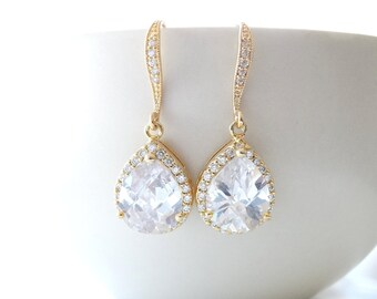 Wedding Jewelry Bridal Jewelry Gold Bridal Earrings Bridesmaid Earrings Cubic Zirconia Teardrop Earrings Dangle Earrings Bridesmaid gifts