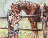 "art for kids, girl and horse, canvas prints, artwork Cowgirl, horse painting ""COWGIRL WHISPERS"" western decor, Canvas or paper art Print"