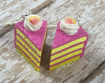 Pink Lemonade Cake Slice Earrings