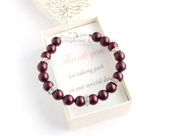 Burgundy Bracelet Bridesmaid Gift Pearl Wedding Jewelry Bridesmaid Bracelet Swarovski Pearls Rhinestone Bling Blackberry Pearls Laelia B01