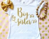 Gold Big Sister shirt, Personalized Birthday shirt, Big Sister outfit, Baby First Birthday Shirt, gold dot ruffle pants, Pink Gold