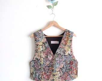 Vtg 80s Floral Tapestry Button Up Vest With Bow • Brocade Tailored Plus Size Vest - L/XL