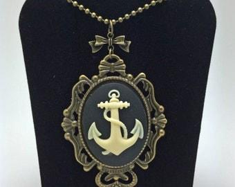 Anchor Necklace, Steampunk Necklace, Goth Necklace, Cameo Necklace, Rockabilly Necklace, Nautical Necklace