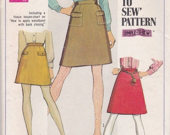Simple 60s Skirt Pattern Simplicity 7779 Size 13/14