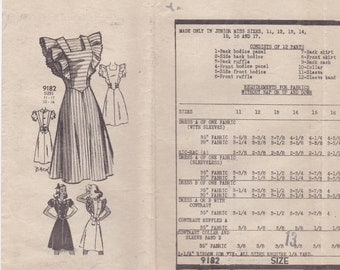 40s Summer Dress or Jumper Pattern Mail Order 9182 Size 13