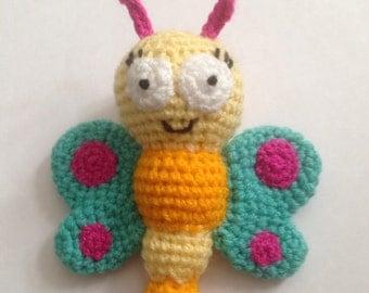 Crochet Butterfly Pattern  rattle photo prop toy doll