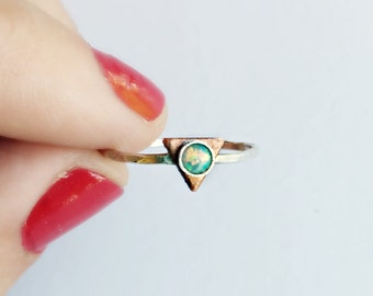 sterling silver triangle ring with teal opal, hammered ring, geometric ring, arrow ring, triangle jewelry