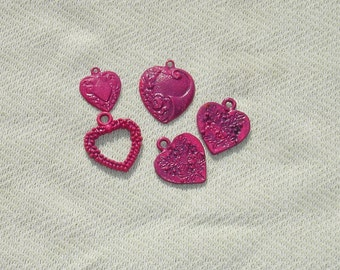 Cute Pink Heart Charms - Jewelry Making Supplies - 5 pcs