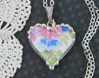 Necklace, Broken China Jewelry, Broken China Necklace, Heart Pendant, Pink and Blue, Sterling Silver, Soldered Jewelry