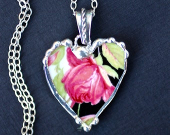 Necklace, Broken China Jewelry, Broken China Necklace, Heart Pendant, Black and Pink Rose China, Sterling Silver, Soldered Jewelry