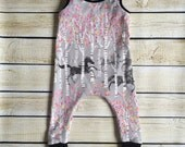 Organic Running Horses Harem Romper Sizes Newborn-6 Years. Baby Outfit Photo Prop Coming Home, Birch Trees & Leaves One Piece Outfit