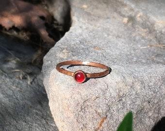 Fired Copper Carnelian Ring